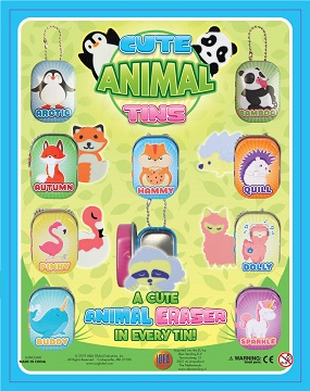50mm Cute Animal Eraser Tins